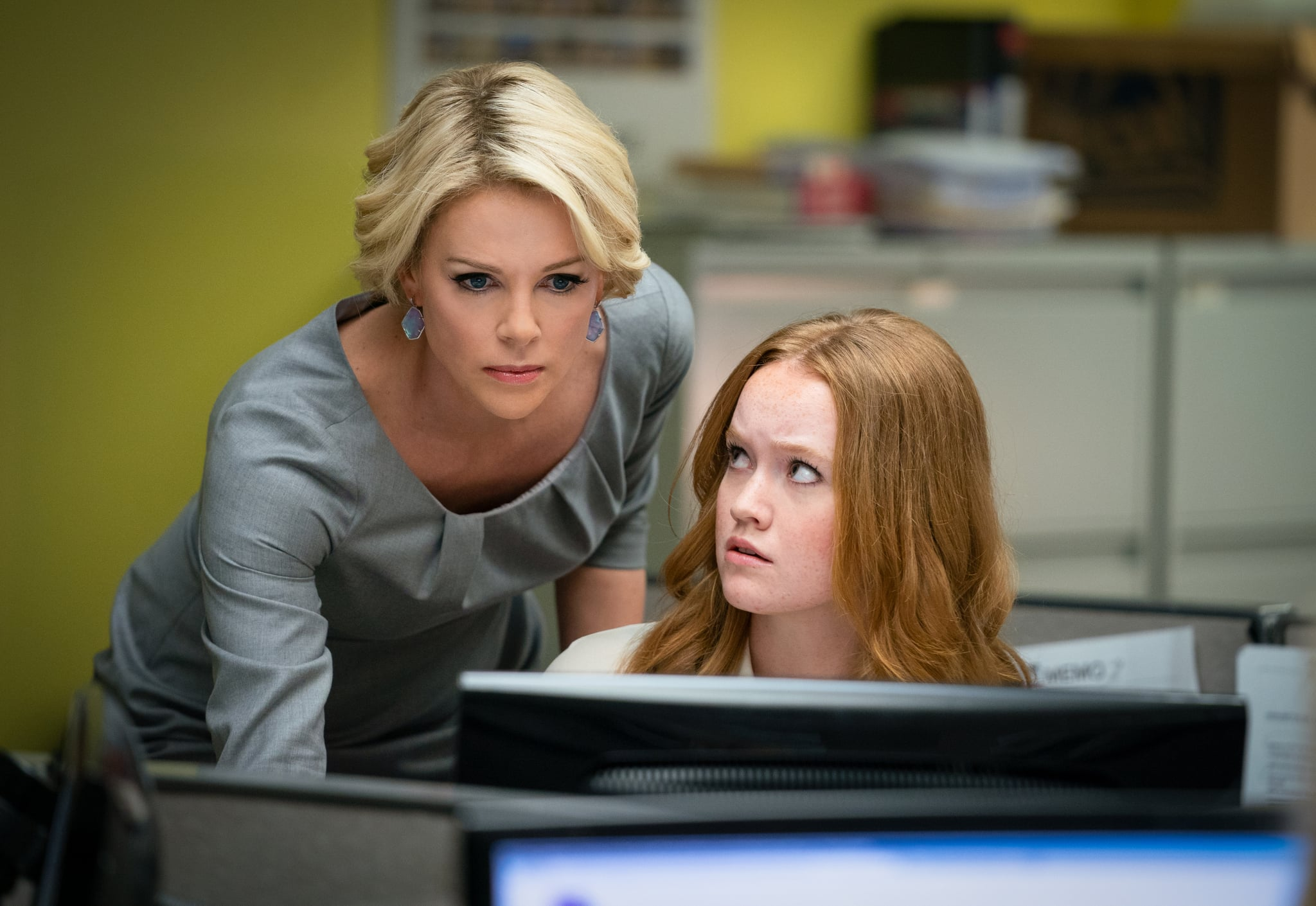 Charlize Theron as 'Megyn Kelly' and Liv Hewson as 'Lily Balin' in BOMBSHELL. Photo Credit: Hilary Bronwyn Gayle.