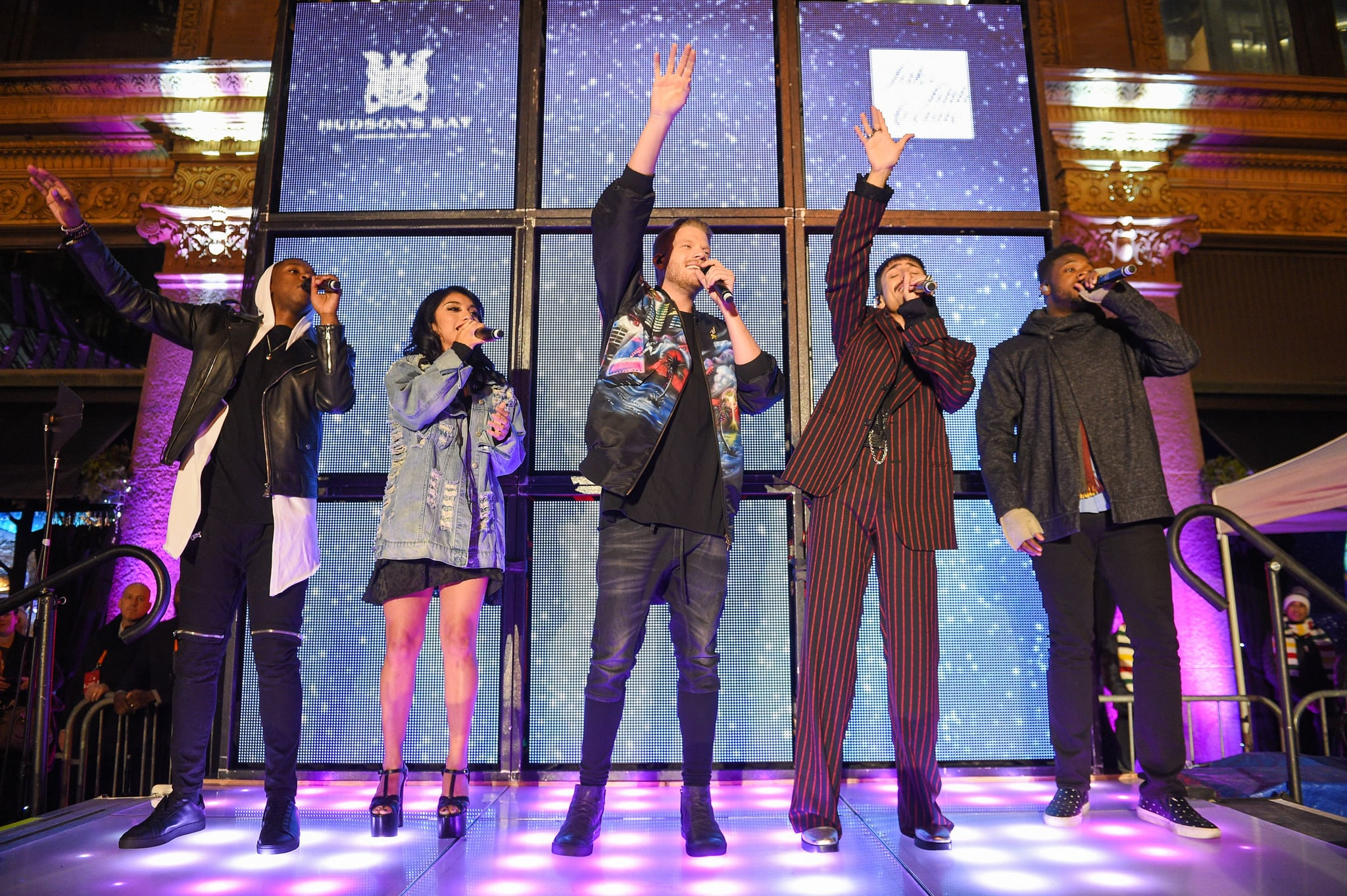 TORONTO, ON - NOVEMBER 02:  L-R Matt Sallee, Kirstin Maldonado, Scott Hoying, Mitch Grassi and Kevin Olusola of Pentatonix perform at Hudson's Bay And Saks Fifth Avenue Kick Off The Holidays With Pentatonix at Hudson's Bay on November 2, 2017 in Toronto, Canada.  (Photo by GP Images/WireImage)