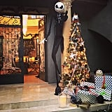 Kourtney captured the spooky Christmas-meets-Halloween party decorations.