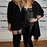 Twinning combo: For their 2008 Elizabeth and James launch at Selfridges, Mary-Kate and Ashley proved the power of black leather.  Mary-Kate wore a draping watercolor Elizabeth and James top over black shorts, then finished her casual look with an oversize blazer and over-the-knee leather boots. Ashley turned up the heat in a corseted top, black leather pants, and geometric Manolo Blahnik pumps.