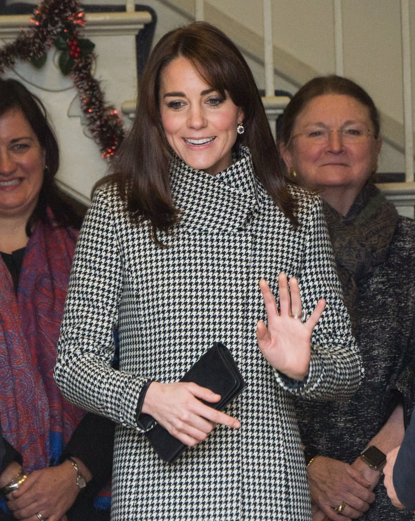 Kate Middleton Wearing Houndstooth Coat and Blue Dress