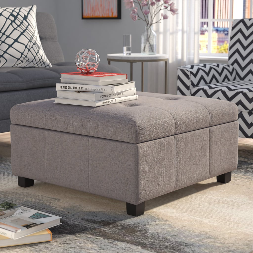 "Ernestine 35"" Tufted Square Storage Ottoman"