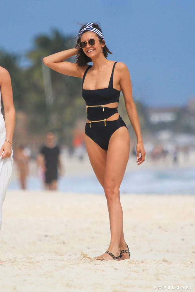 709fbc7627dfc Nina Dobrev Zipper One Piece Swimsuit | POPSUGAR Fashion