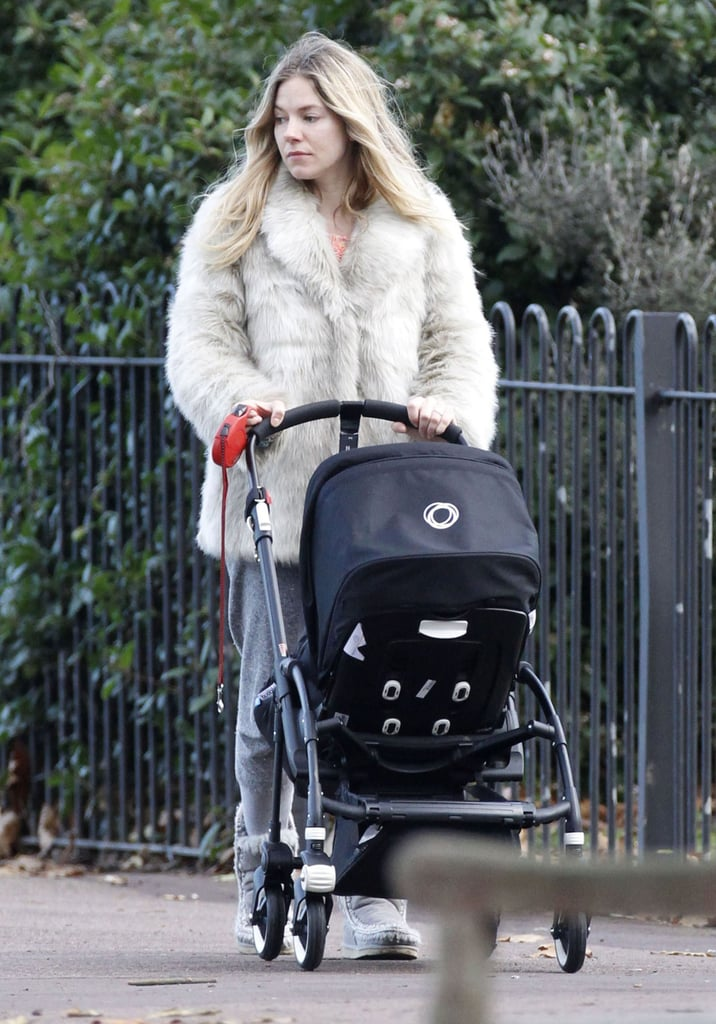 """Sienna Miller took her daughter, Marlowe Sturridge, out for a walk in London yesterday afternoon. The girls are in their native England ahead of the holidays, and following an extended stay in the US. Sienna was in NYC in order to do press for her HBO project, The Girl, and also log time on the set of Foxcatcher. To promote her TV film, Sienna's done a range of interviews lately. She's on the cover of the January 2013 issue of Harper's Bazaar UK, and inside, spoke about her new family with fiancé Tom Sturridge. Speaking about the July birth of Marlowe, Sienna said she loved welcoming her daughter and finding out what sort of parent she is. Here are highlights from Sienna:   On physical changes: """"My body's a completely different thing to me, it's not mine — all the attachment to its flaws or any aesthetic attachment is gone. You understand what breasts are for; and I have such enormous respect for my body because of what it can do.""""  On not having a nanny at the beginning: """"It's been just the three of us, which was amazing, and exhausting. We are going to get a nanny, but it felt important to first learn for myself who I was as a parent.""""  On giving birth: """"It's the best, the greatest thing in the world. I would do that day a million times again. I would do that day, every day. I loved it."""""""
