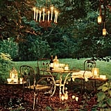 Fill an entire space with candles by utilizing nearby spaces like your backyard.
