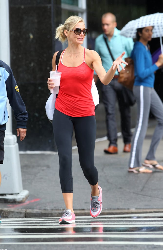 Cameron Diaz carried a drink.