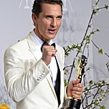 McConaughey continued his fun in the press room.