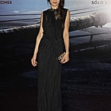 Olga Kurylenko wore a black dress.