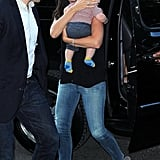 Jennifer Garner carried baby Samuel out of a black SUV in NYC.