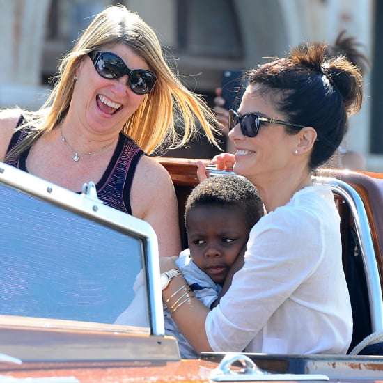 George Clooney and Sandra Bullock on Boats in Venice
