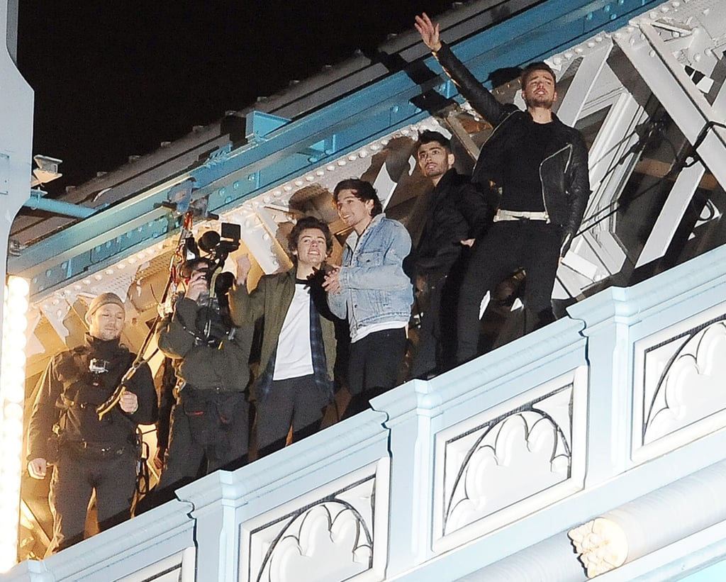 The One Direction boys bundled up for their shoot in the dark.