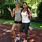 Jamie Chung did some midday training with singer Melanie Fiona. Source: Instagram user jamiejchung