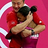 Gabby Douglas and her coach Liang Chow had an emotional embrace upon hearing her score for floor routine.