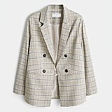 Violeta Plus Size Double-Breasted Check Blazer