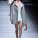 Kendall Walked the Versace Runway in a Grey and Pastel Look