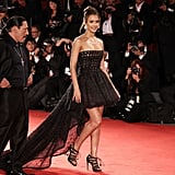 Jessica Alba showed off her legs and her movie, Machete in 2010.