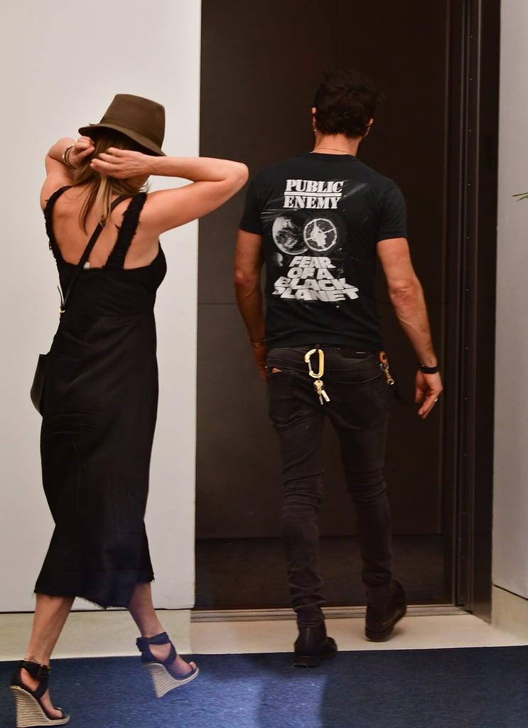 Jennifer Aniston Black Burberry Wedges in New York June 2016