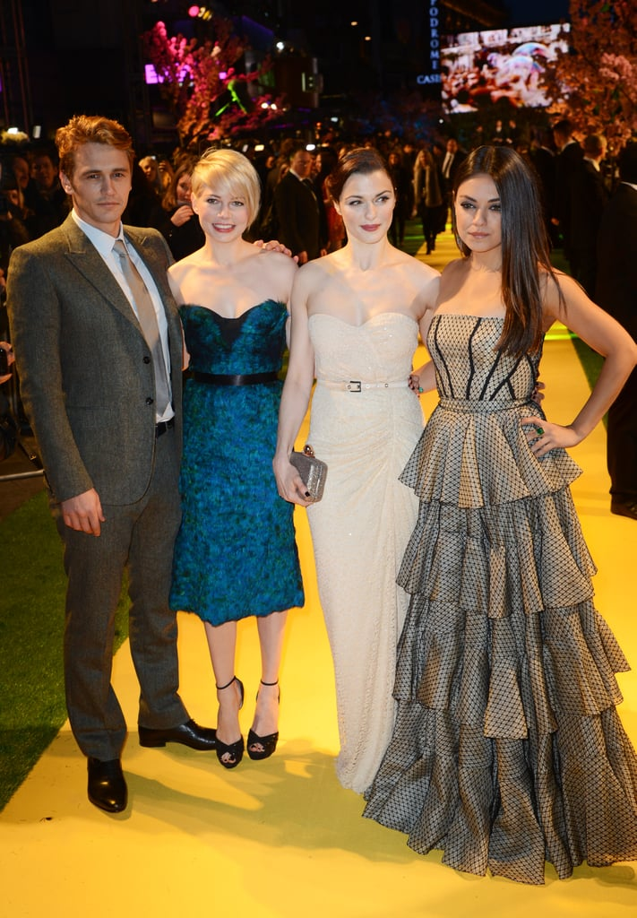 James Franco had his leading ladies, Michelle Williams, Rachel Weisz, and Mila Kunis, by his side on the yellow brick road carpet at the UK premiere of Oz the Great and Powerful today. Rachel donned a nude Michael Kors gown to join her costars in London after they premiered the film in Russia without her last night. James, Michelle, and Mila got dressed up for the Moscow debut after a busy day of promotional appearances. Although Rachel missed out on the fun in Russia, she did make the trek to Japan last week. Rachel and James popped up in Tokyo to premiere Oz last Wednesday, and they'll keep up their busy schedule as the March 8 release date nears.