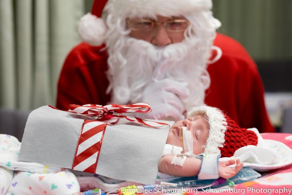 photos of preemies dressed as presents meeting santa claus popsugar moms - Santa Claus Presents