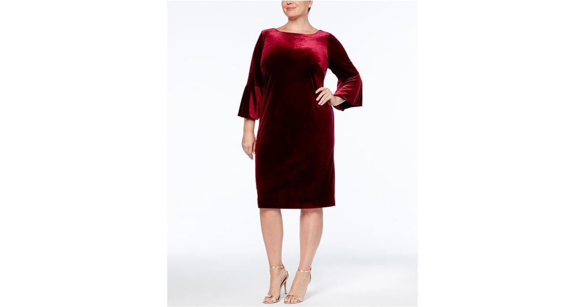 84806bf3fbc Calvin Klein Plus Size Velvet Bell-Sleeve Dress
