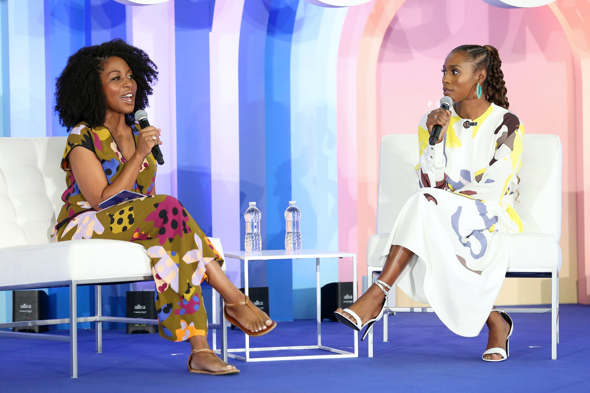 NEW YORK, NEW YORK - JUNE 23: Amy Aniobi and Issa Rae speak during