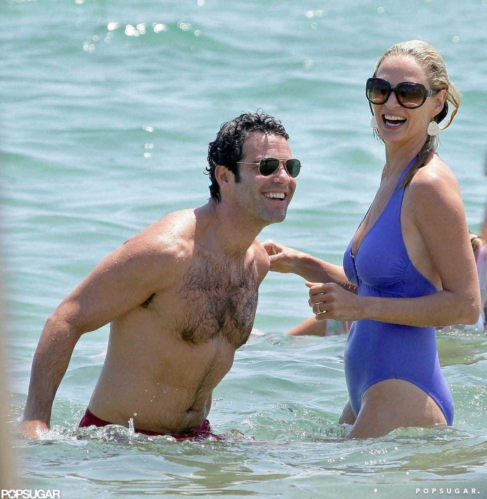 Uma Thurman frolicked with a mystery man off the shores of St.Tropez during her July 2007 stay.