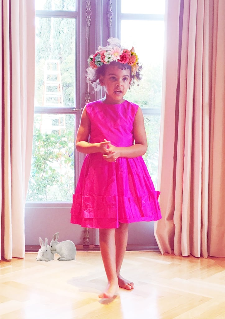 "Beyoncé posted a collection of adorable photos from her Spring-themed tea party with daughter Blue and sister Solange on her blog on Sunday. The colorful pictures feature a barefoot Blue wearing a hot-pink dress and a series of Easter graphics, including white bunnies, a flower wreath, and a bunny ears headband. Beyoncé is also shown in one of the shots decorated with pastel-colored cups and a tea kettle. Of course, the singer is no stranger to sharing snippets of her family life on her website. Earlier this month, she shared a slew of amazing shots fit for a scrapbook from her Super Bowl halftime show rehearsals with Bruno Mars and Coldplay's Chris Martin. Keep reading for the sweet and precious snaps, and then check out Beyoncé and Blue on the set of her ""Formation"" video."