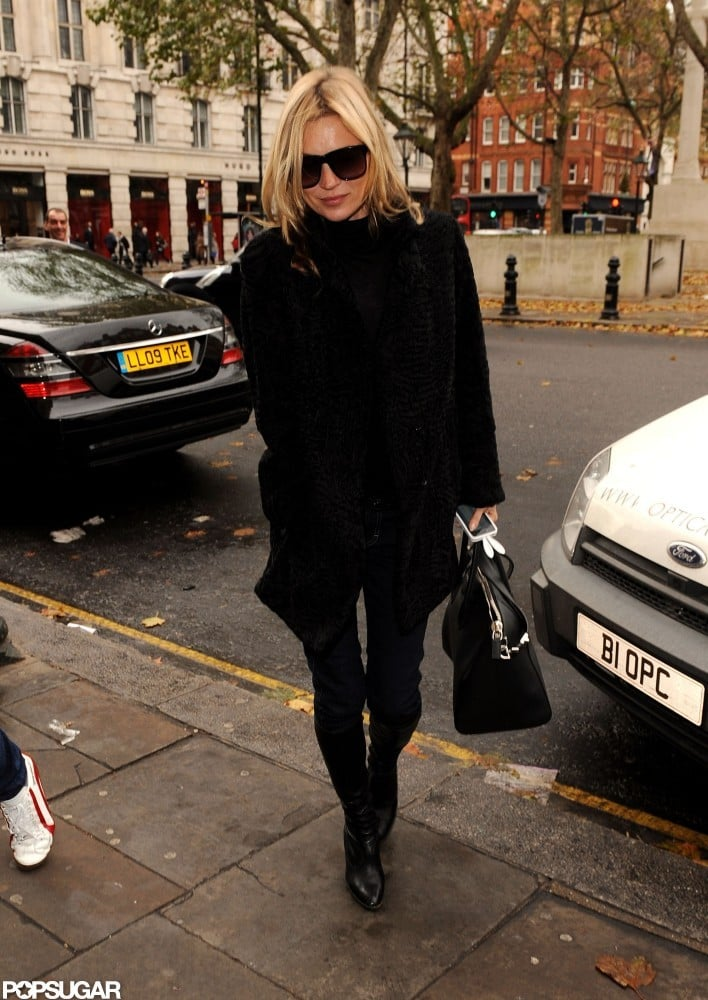 Kate Moss headed from her home to lunch yesterday in London in an all-black ensemble. The model enjoyed the low-key outing after a busy few weeks celebrating the release of her new book, Kate: The Kate Moss Book. Many of Kate's fashion-world friends attended a party to mark the launch of the 368-page book, which tracks Kate's career and its highlights. Marc Jacobs and Stella McCartney were among the guests, and Kate's husband, Jamie Hince, was also by her side for the soiree.  The notoriously press-shy Kate even gave a couple of rare interviews in the lead-up to the book's publish date. Kate discussed her breakup with Johnny Depp in her Vanity Fair cover story and also opened up about her lack of confidence as a young model in a chat with The New York Times. While the hardcover collection of Kate's pictures hasn't cracked the newspaper's bestseller list, it's one of Amazon's top-selling fashion and photography books this week.