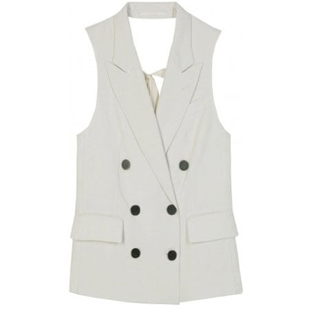 The double-breasted fit makes it a menswear staple, but the sexy pleating lends a feminine vibe. 3.1 Phillip Lim Double-Breasted Lapel Vest (approx $279)