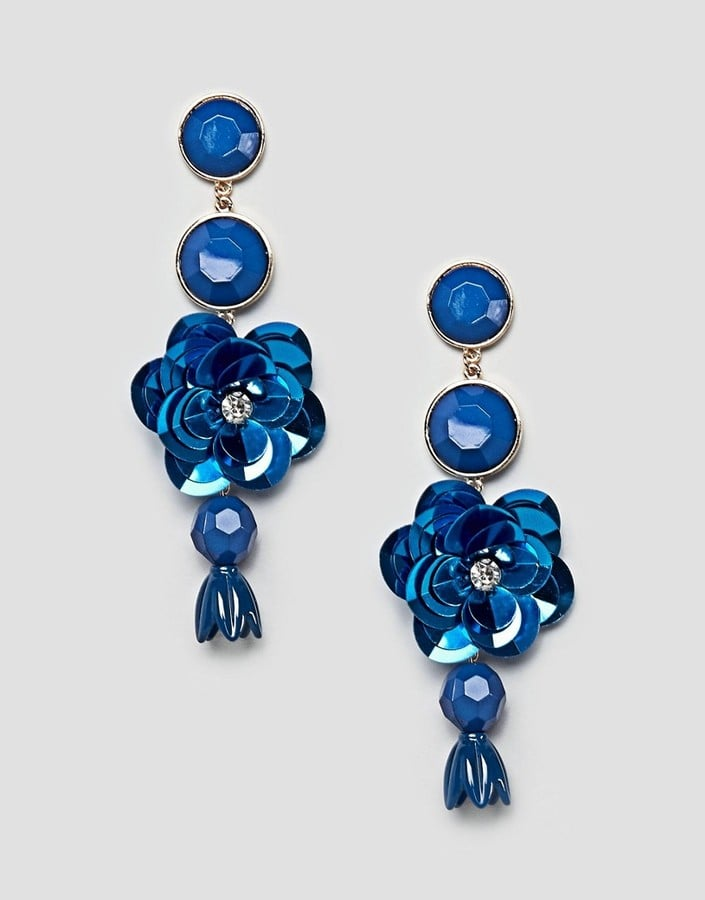 ASOS Stone and Sequin Flower Drop Earrings