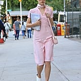 Suki Waterhouse Looked Pretty in a Pink Romper