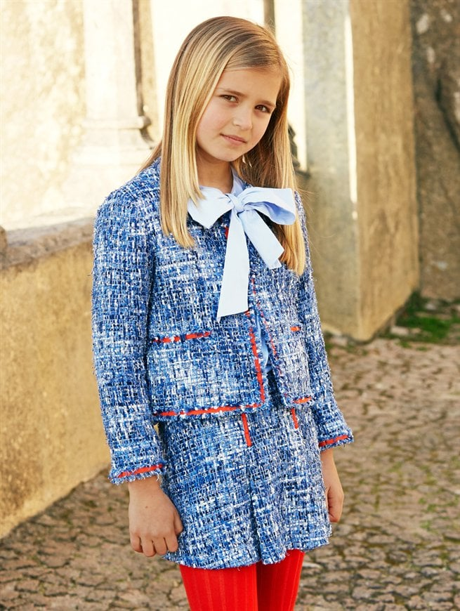 Look 2 — Girls' Bow Blouse and Skirt Suit ($75-$325)