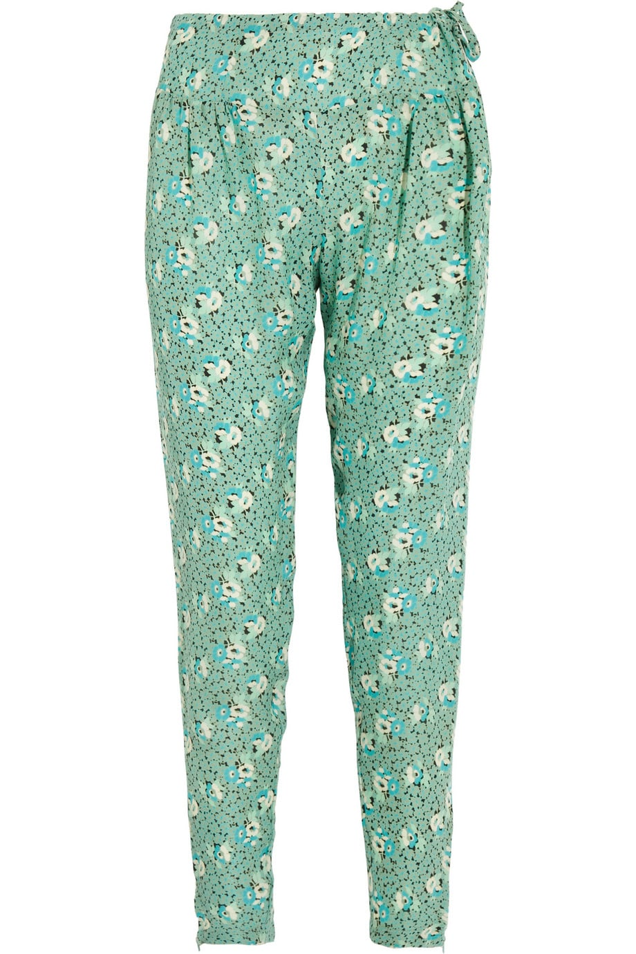 """I love turning a typically """"daytime"""" piece into something unexpected and wearable for going out at night. These Tucker Floral-Print Georgette Pants ($299) would look just as pretty with a white blouse and blazer for the office as it would with a fitted tank and leather jacket for the bar.  — Britt Stephens"""