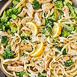 Lemon Fettucine Alfredo With Grilled Chicken and Broccoli