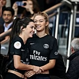 Gigi and Kendall took a break from the runways to attend the Paris vs. Marseille soccer match.