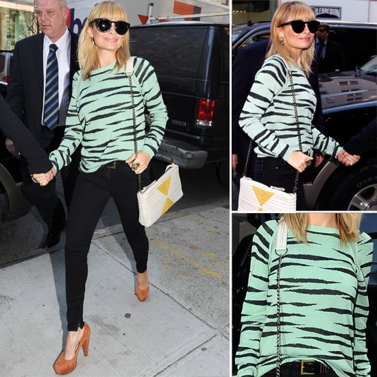 Nicole Richie in her Peppermint Zebra Proenza Schouler Knit Is Proof We Should Invest in a Statement Knit this Season