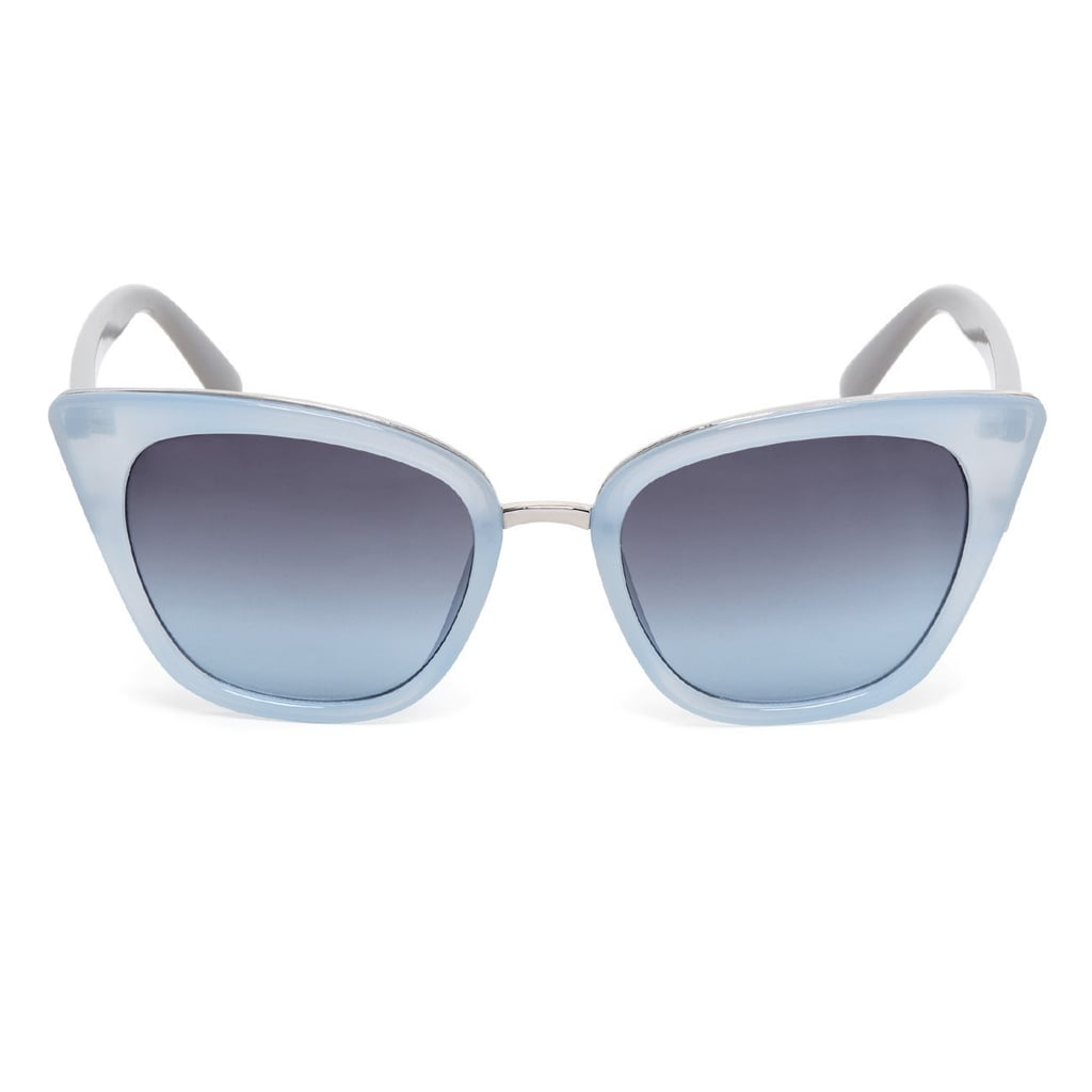Go Palm Springs retro in these Sole Society Pearl Frosted Cat Eye Sunglasses ($40) — perfect for convertible weather.