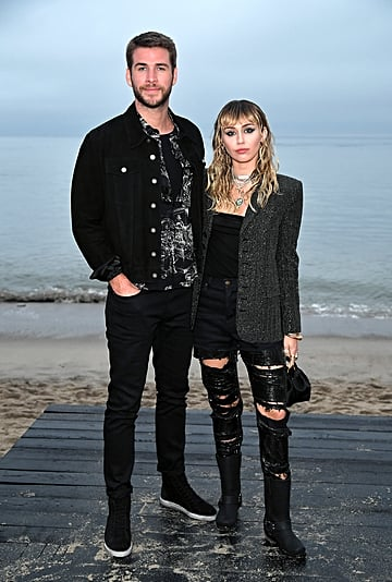 Miley Cyrus and Liam Hemsworth's Outfits at Saint Laurent