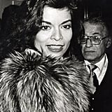 Bianca Jagger is a picture of glam perfection at Woody Allen's New Year's Eve party in 1979.