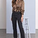 DL1961 x Marianna Hewitt Jerry High Waist Vintage Crop Straight Leg Jeans and Chambers St. Silk Top