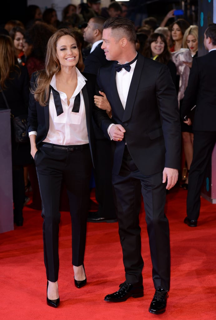 Angelina Jolie and Brad Pitt wore matching tuxedos at the 2014 BAFTAs on Sunday.