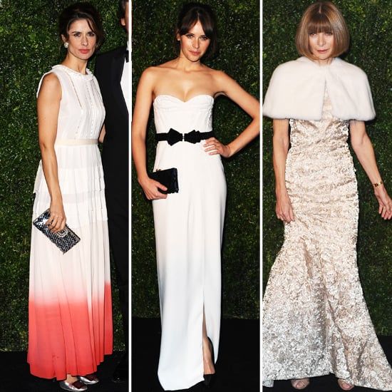 Anna Wintour, Felicity Jones, Living Firth White Gowns