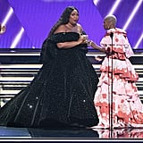 Lizzo Accepting Her Grammy in a Christian Siriano Dress