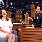 For an appearance on The Tonight Show Starring Jimmy Fallon, the star wore a custom Brandon Maxwell off-the-shoulder mini.