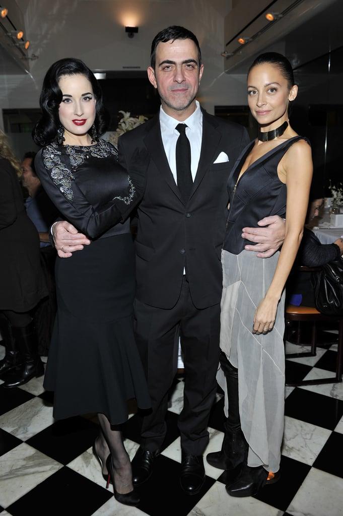 Dita Von Teese, Antonio Berardi, and Nicole Richie at the Antonio Berardi dinner.