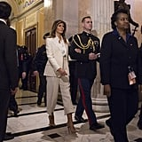 For President Donald Trump's first State of the Union address on Jan. 30, Melania wore a white Dior suit paired with a Dolce & Gabbana top. The outfit choice led us to speculate whether or not Melania was secretly trying to send a political message to the world.