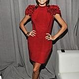 A flirty bold-shouldered Marchesa for Fashion Week in 2010.