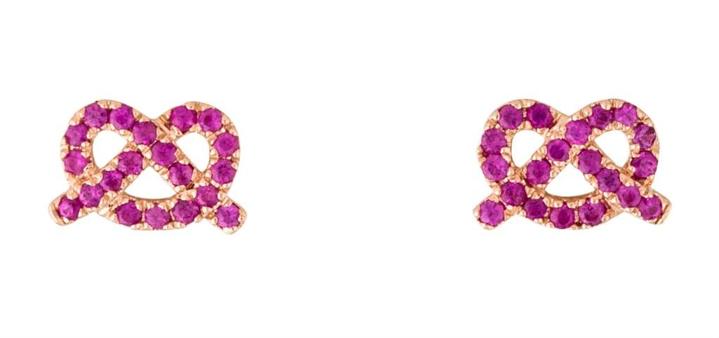 14K Pink Sapphire Pretzel Stud Earrings ($175)