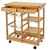 Nova Microdermabrasion Rolling Wood Kitchen Island Storage Trolley