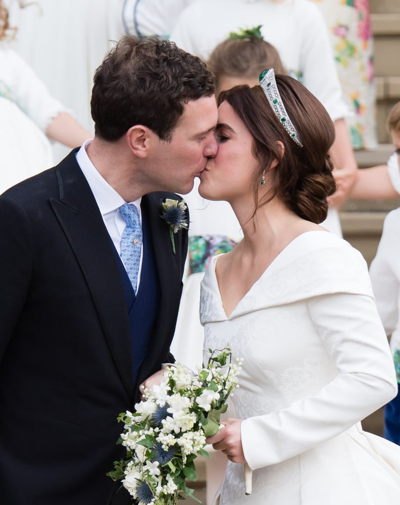 "Princess Eugenie's something blue was hiding in her bouquet! At her wedding to Jack Brooksbank on Oct. 11 at Windsor Castle's St. George's Chapel, the royal carried a crisp white bouquet with blue thistle, which contrasted the autumnal flowers that decorated the chapel.  Though the bouquet followed tradition, the pop of colour was a nice touch. Florist Amelia Christoffers broke down its significance to the Evening Standard. ""Princess Eugenie's bouquet has followed the traditional royal line of white, sweet-smelling British flowers with plush green foliage, but with an added twist,"" she said. ""Perhaps as a nod to her Scottish heritage, her beautiful arrangement includes blue thistle, which adds a contemporary pop of colour and personality.""  In addition, Eugenie included a sprig of myrtle, which comes from a long tradition started by Queen Victoria in the 19th century. As it's told, the then queen planted a myrtle shrub shortly after her wedding, and royals have since picked myrtle from that same shrub for their nuptials. Ahead, look at pictures of Eugenie's elegant bouquet.       Related:                                                                                                           Yes, Wind! Everybody Lost Their Hats at the Royal Wedding — And It Was Comedy Gold"